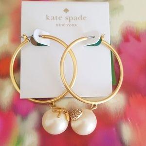 NWOT kate spade pearl hoop earrings